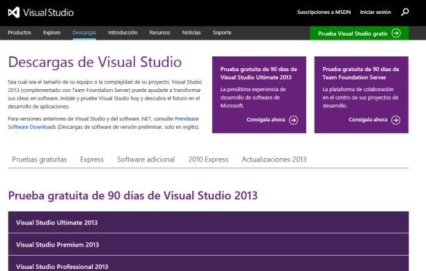 Sitio Visual Studio en Español