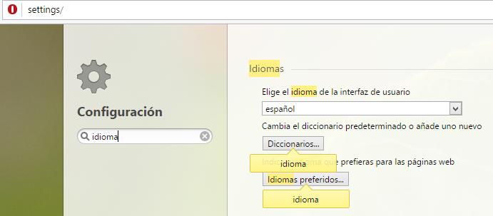 Búsqueda de Opciones en Opera Browser