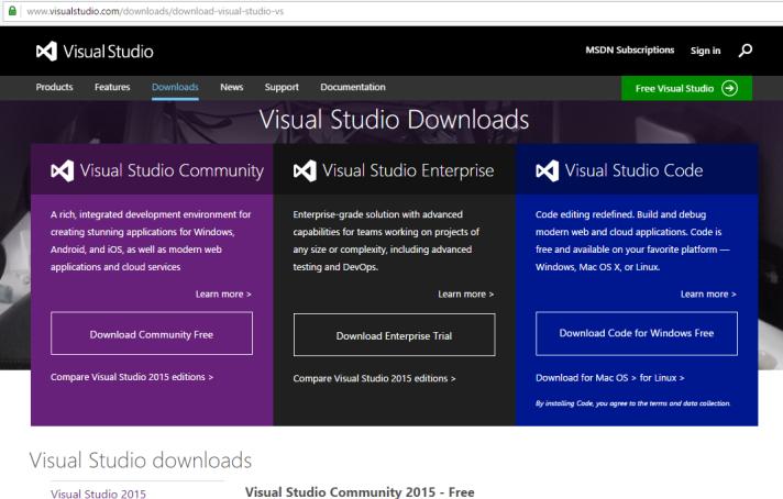 Sitio de Visual Studio en inglés