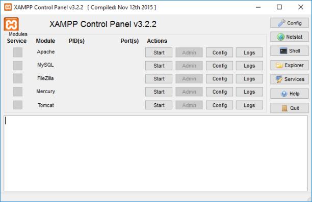 XAMP Control Panel